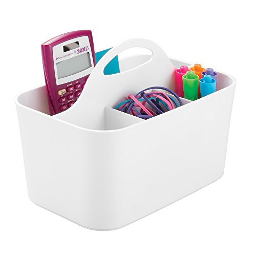 mDesign Office Supplies Desk Organizer Tote for Scissors, Pens, Pencils, Notepads - Small, ()