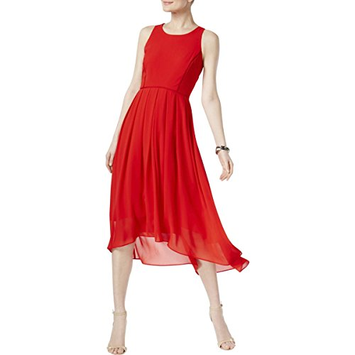 Dress Pleated Vince (Vince Camuto Womens Chiffon Hi-Low Cocktail Dress Red 14)