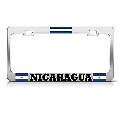 NICARAGUA PALM TREE Metal TROPICAL License Plate Frame NICARAGUAN FLAG Auto Tag