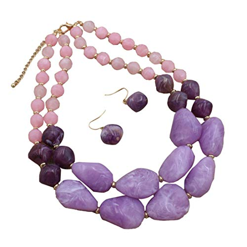 Ufraky Fashion Jelly Color Beads Statement Necklace and Earrings Set for Women Gift (Purple)