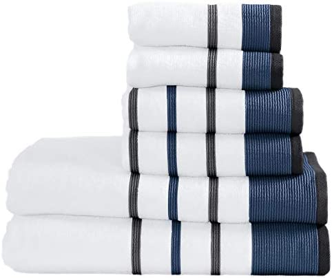 100% Turkish Cotton Striped Bath Towels, Luxury 6 Piece Set - 2 Bath Towels, 2 Hand Towels and a couple of Washcloths. Highly Absorbent Quick-Dry Towels (6 Piece Set, Moroccan Blue / December Sky)