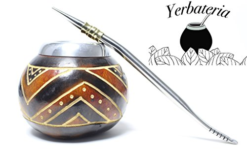 Contains No Dyes (Handmade Yerba Mate Gourd Cup and Bombilla Straw Set., Contains No Dyes or Mold.)