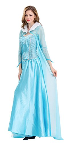 Fairytale Dresses For Adults (TOKYO-T Elsa Costume Women Snow Queen Dress Adult Halloween (US6-8))