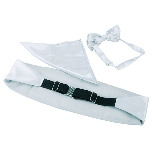 Set Tuxedo and Silver Formal Satin Square Blend HDE Bow Pocket Cummerbund Men's Tie qS1wp15