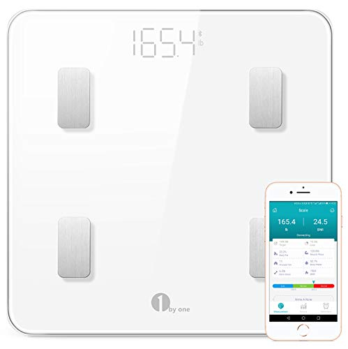 1byone Bluetooth Smart Body Fat Scale with iOS and Android App, Including Weight, BMI, Body Fat, Muscle Mass, Water Weight, and Bone Mass, etc. - White