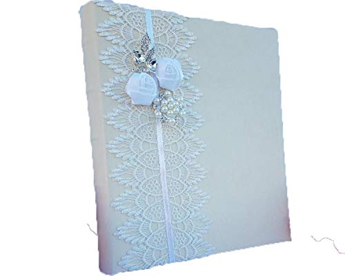 - Towdah Perez Vintage White lace Flowers and brooches Ivory Leather Wedding Album. 3-Ring Binder Photo Album with refillable Pages. 4x6, 5x7, 8x10 Photos. Customizable and personalizable