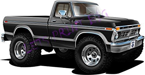 Lets Print Big Car Art 1976 Ford F-150 Ranger XLT 4x4 Pickup Cartoon Wall Decal ()