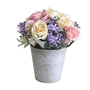 opOpb213IL Artificial Fake Flowers,Decor for Indoor Outside Home Kitchen, 1Pc Potted Artificial Flower Rose Bonsai DIY Garden Wedding Home Party Decor - Purple 9