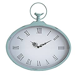 Stratton Home Decor S01856 Shabby Wall Clock, 18.31 W x 1.97 D x 18.50 H, Light Blue