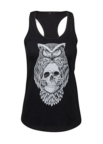 (Womens Owl Skull Black Loose Fit Muscle Tee Tank Top – Size Large)