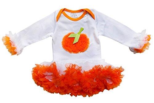 So Sydney Baby Girls Halloween Ruffle Pumpkin Tutu Skirt Bodysuit Romper Costume (M (6-12 Months), White) ()