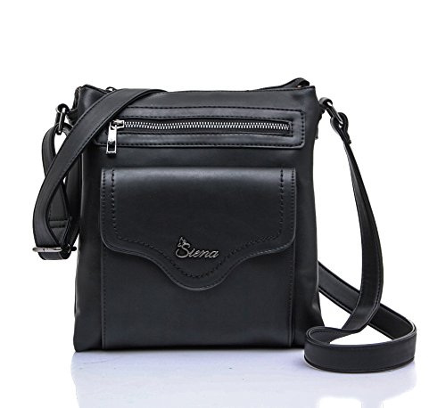 Siena Triple Top-Compartment Soft Crossbody Bag MS012 (Black)
