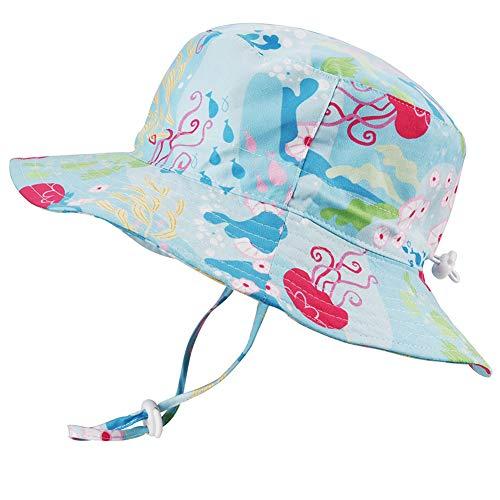 Baby Girls Sun Hat Adjustable - Outdoor Toddler Swim Beach Pool Hat Kids UPF 50+ Wide Brim Chin Strap Summer Play Hat(Jellyfish, 48cm)
