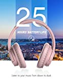 Mpow H7 Bluetooth Headphones Over-Ear, 25h Playtime, CVC 6.0, Wireless Headphones with Hi-Fi Stereo and Mic, Comfortable Memory-Protein, Wireless and Wired Mode for Cellphone/Tablet-Rose