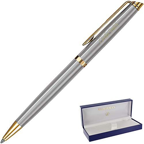 Dayspring Pens | Engraved/Personalized WATERMAN Hemisphere Stainless Gold Trim Ballpoint Pen