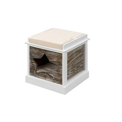Ebi Heatfelt - Casetas para Gatos (Interior, Madera, Blanco, 2 estanterías, 360 mm, 360 mm)