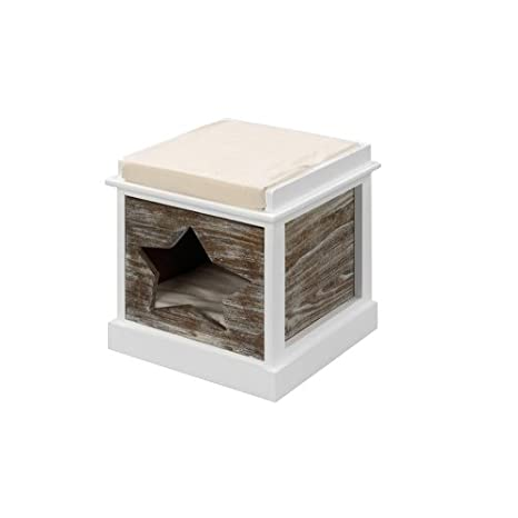 Ebi Heatfelt - Casetas para Gatos (Interior, Madera, Blanco, 2 estanterías,