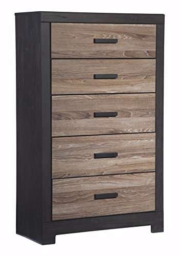 Mission 5 Drawer Chest (Ashley Furniture Signature Design - Harlinton Chest of Drawers - 5 Drawer Dresser - Contemporary Vintage - Warm Gray & Charcoal)