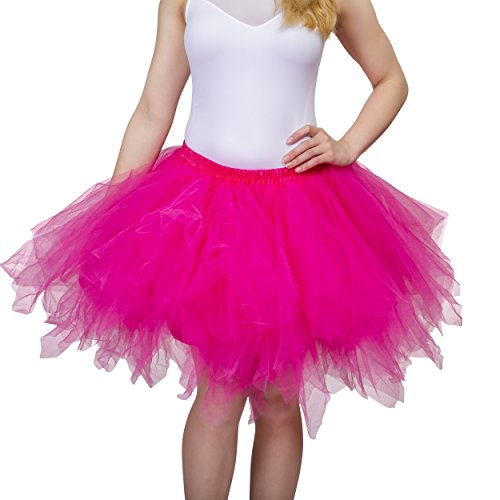 Dancina Women's Adult Vintage Petticoat Tulle Tutu Skirt [Sticker XL],Fuchsia,Regular Size