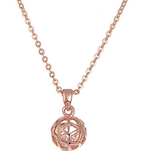 Hemss Hollow Ball Clavicle Chain Short Necklace Zircon Pendant For Women