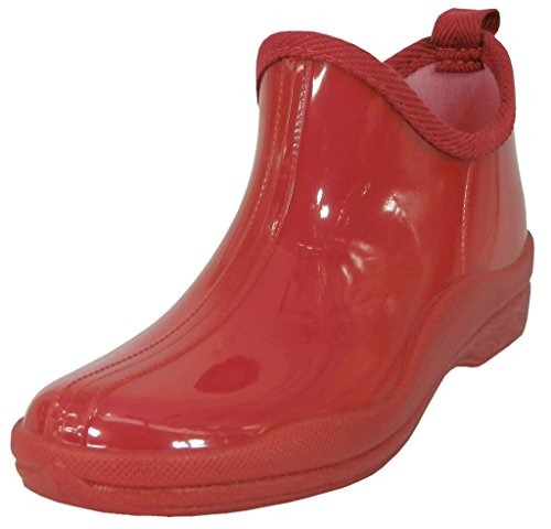 Hazels Jewel Womens Ankle High Natural Rubber Rainboot & Gardenboot With Comfortable Insole Red KbGve