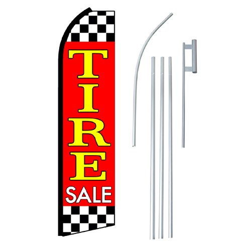 "NEOPlex - ""Tire Sale"" Complete Flag Kit - Includes 12' Swooper Feather Business Flag With 15-foot Anodized Aluminum Flagpole AND Ground Spike"