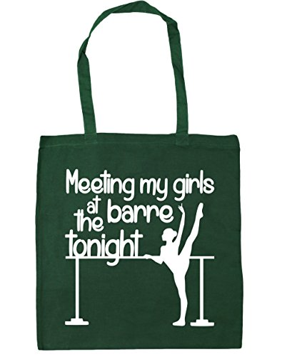 HippoWarehouse Meeting My Girls at the Barre Tonight Tote Shopping Gym Beach Bag 42cm x38cm, 10 litres Bottle Green
