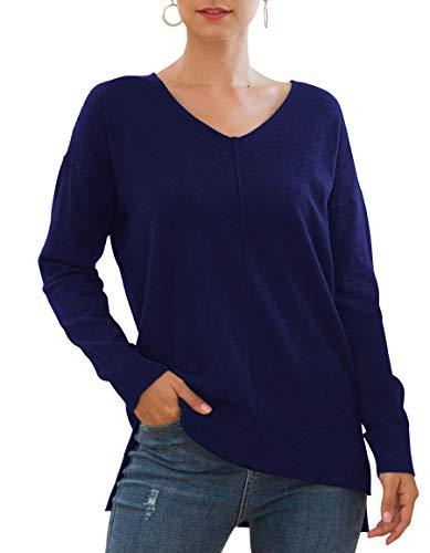 Jouica Women's Winter Batwing Sleeve Loose Pullover Sweater Knit Jumper(Navy Blue,L)
