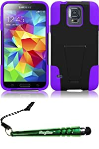 FoxyCase(TM) FREE stylus AND For Samsung Galaxy S5 T-Stand Cover Case - Black+Purple cas couverture