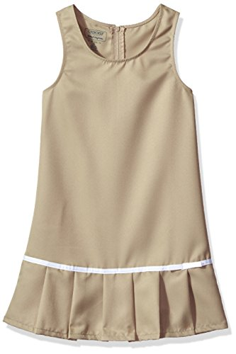 Cherokee Big Girls' Uniform Jumper, Khaki White Trim, 7 (Uniform Dress School)
