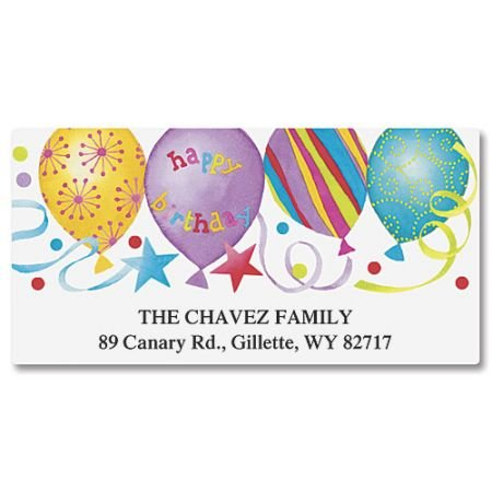 Happy Birthday Personalized Return Address Labels- Set of 144, Large Self-Adhesive, Flat-Sheet Labels, By Colorful Images