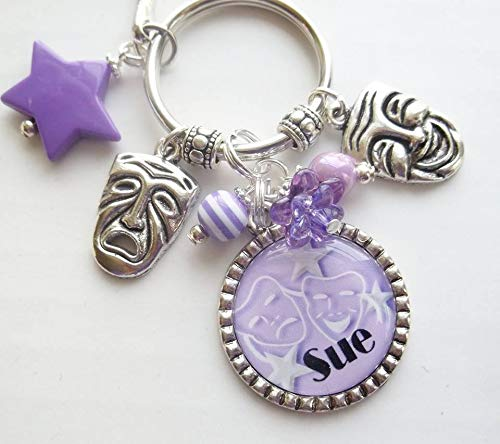 Personalized Drama Theater comedy and tragedy mask charm keychain with name and in your choice of color
