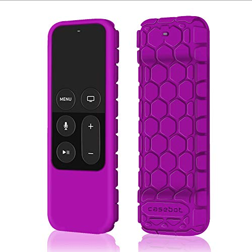 Fintie Protective Case for Apple TV 4K 5th, 4th Gen Remote - Casebot (Honey Comb Series) Lightweight (Anti Slip) Shock Proof Silicone Cover for Apple TV Siri Remote Controller, Purple