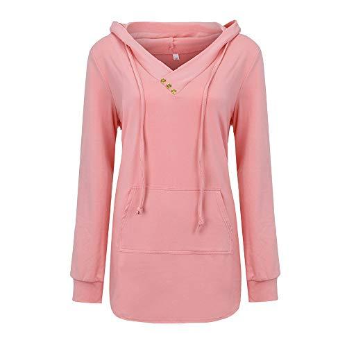 Pullover 1/4 Zip Anorak (Dressin Women Solid V- Neck Button Lightweight Pullover Hooded Sweatshirt Hoodie with Pocket)