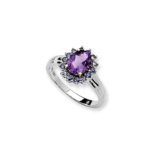 (925 Sterling Silver 14k Purple Amethyst Blue Iolite Band Ring Size 8.00 Stone Gemstone Fine Jewelry Gifts For Women For)
