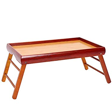 Dinner Tray - Wooden Breakfast in Bed Foldable Portable Serving TV Table with Stand - 20.5