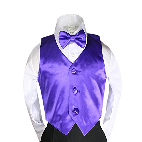 Unotux 23 Color 2pc Boys Formal Satin Vest and Bow Tie Sets from Baby to 7 years (4T, Purple)