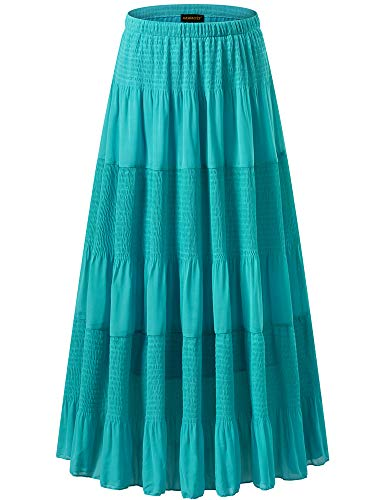 NASHALYLY Women's Long Hippie Bohemian Skirt Gypsy Dress Boho Skirts - Elastic High Waist Pleated A-Line Flared Maxi Skirts(Light Blue, - A-line Smocked
