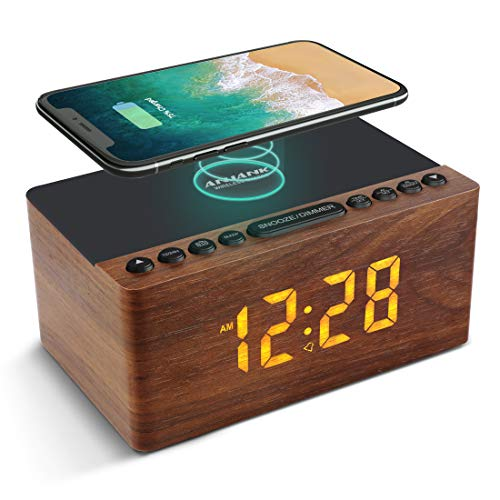 ANJANK Wooden Digital Alarm Clock FM Radio,10W Fast Wireless Charger Station for iPhone/Samsung Galaxy,5 Level Dimmer,USB Charging Port,2 Wake up Sounds,Bedrooms Sleep Timer,Wood LED Clock for Bedside