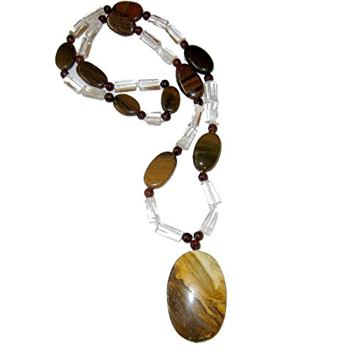 Goddess Tigers Eye Necklace - Jasper Necklace Medley 53 Brown Yellow Oval Pendant on Clear Quartz, Tiger's Eye Crystals Men Women's Healing Stone Fashion 26