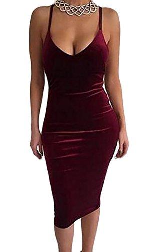 Jaycargogo Womens Vestito Pizzo Vino Profondo Collo Al Randello Backless Aderente V Rosso Sexy TTfrq6