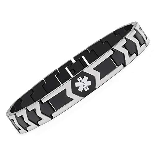 linnalove Free Engraving Black Titanium Medical id bracele for Men(8.5) ()