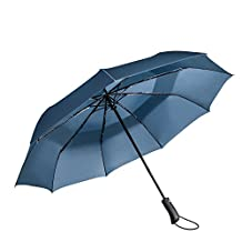 Travel Umbrella - Windproof Compact Umbrella with Double Canopy Construction - Auto Open&Close,Sturdy, Portable and Lightweight + Lifetime Guarantee (Blue, 45inch)