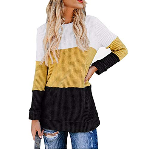 Womens Long Sleeve Color Block Shirts Knit Thermal Pullover Sweater Casual Tops - Pack Twin 95
