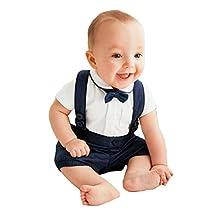 Janeyer Infant Babywear Boys Cotton Bowtie Shirt + Suspender Pants Suit