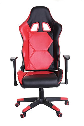 Latitude Run High Back Faux Leather Reclining Gaming Chair, Red/Black Latitude Run