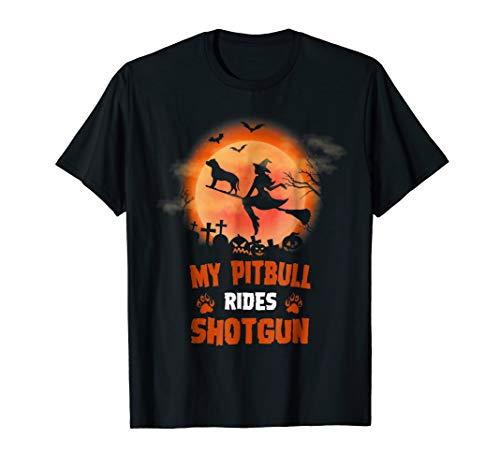 My Pitbull Dog Rides Shotgun Halloween Shirt]()