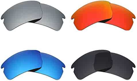 3f50da8e7a Mryok 4 Pair Polarized Replacement Lenses Oakley Flak 2.0 Asian Fit  Sunglass - Stealth Black