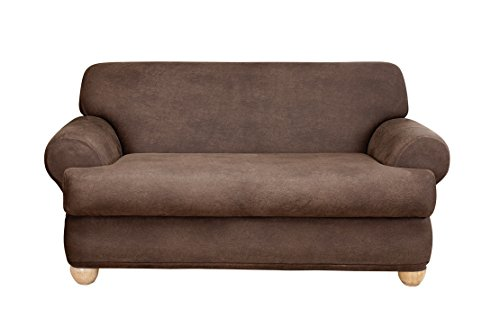 Sure Fit Stretch Leather Separate Seat T-Cushion Loveseat Sl