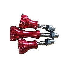 SODIAL(R) 3x Aluminium alloy Knob Thumb Screw Mount accessories, for gopro hero 5 4 3 sjcam original sj4000 sj5000 SJ6 m10 h9 h3 c30, Red